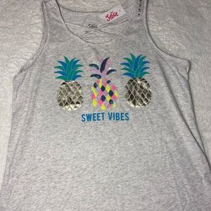 Justice gray pineapple tank top